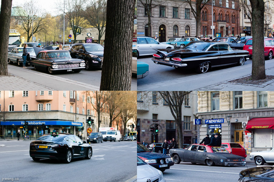 American cars in Stockholm including Tesla Model X taxi